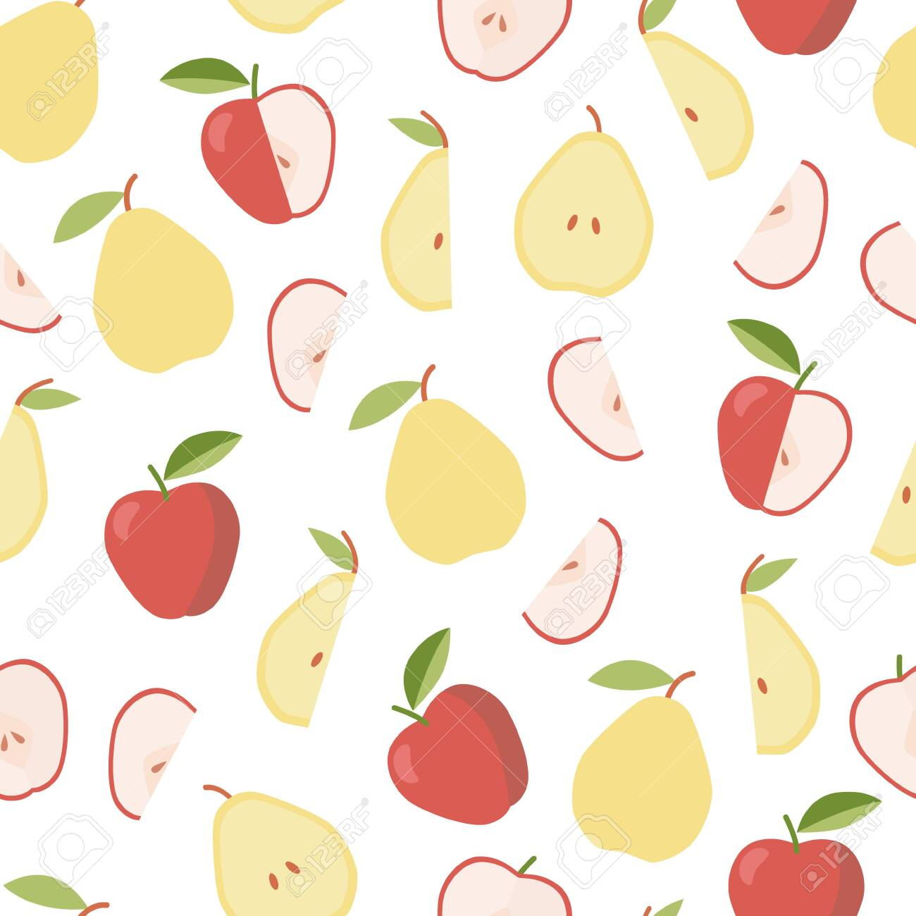 Colorful pattern with apple and pear. Summer, sweet food. Vegetable diet - 132553836