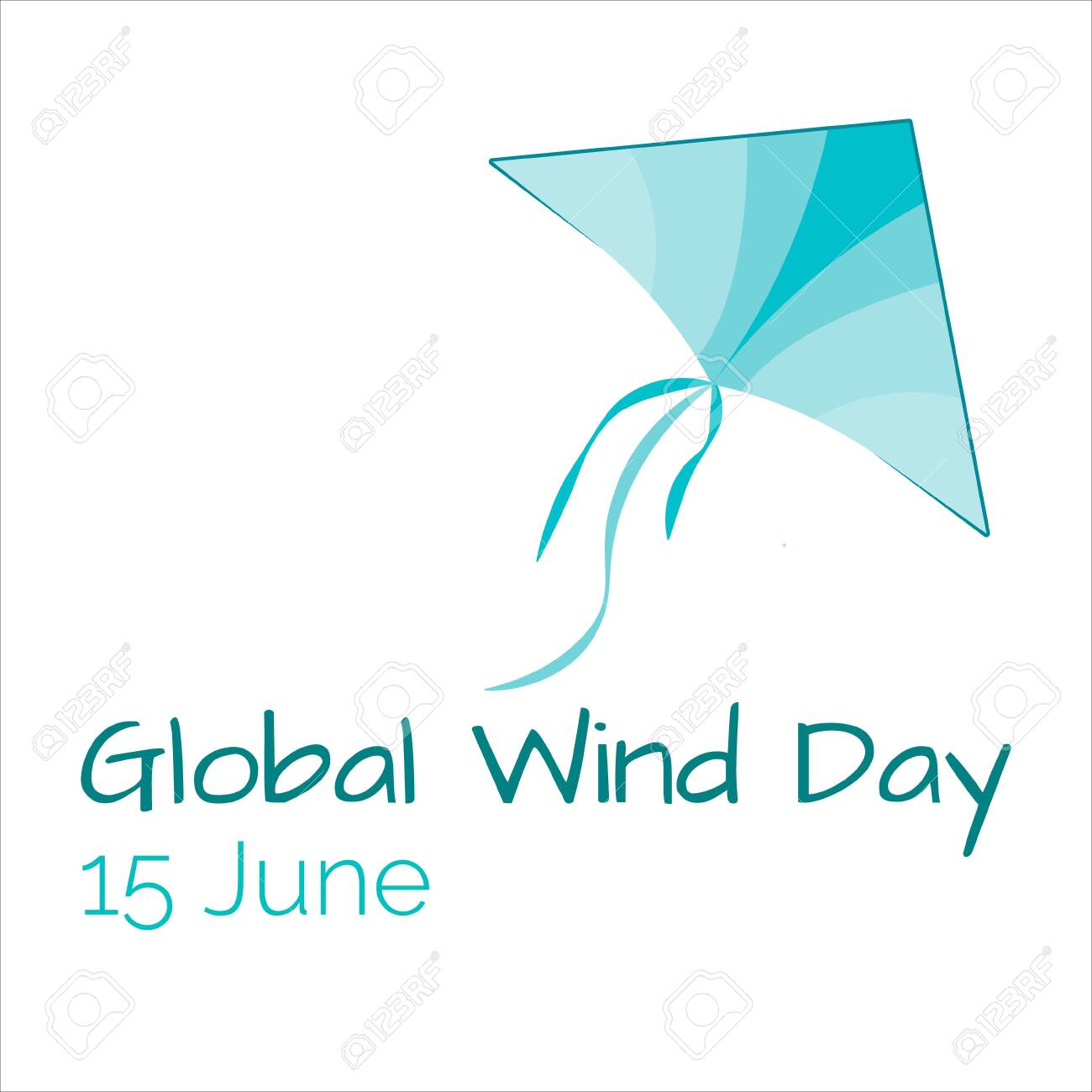 Icon of kite, eco technology, green energy, 15 June Global Wind Day - 148611882