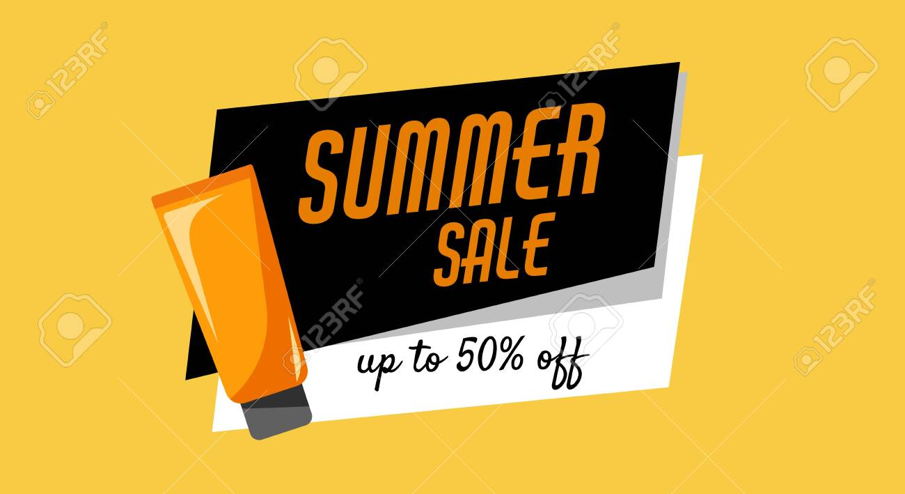 Summer sale, up to 50 off, orange tube of sunscreen product with spf. Every day care concept. - 149789648