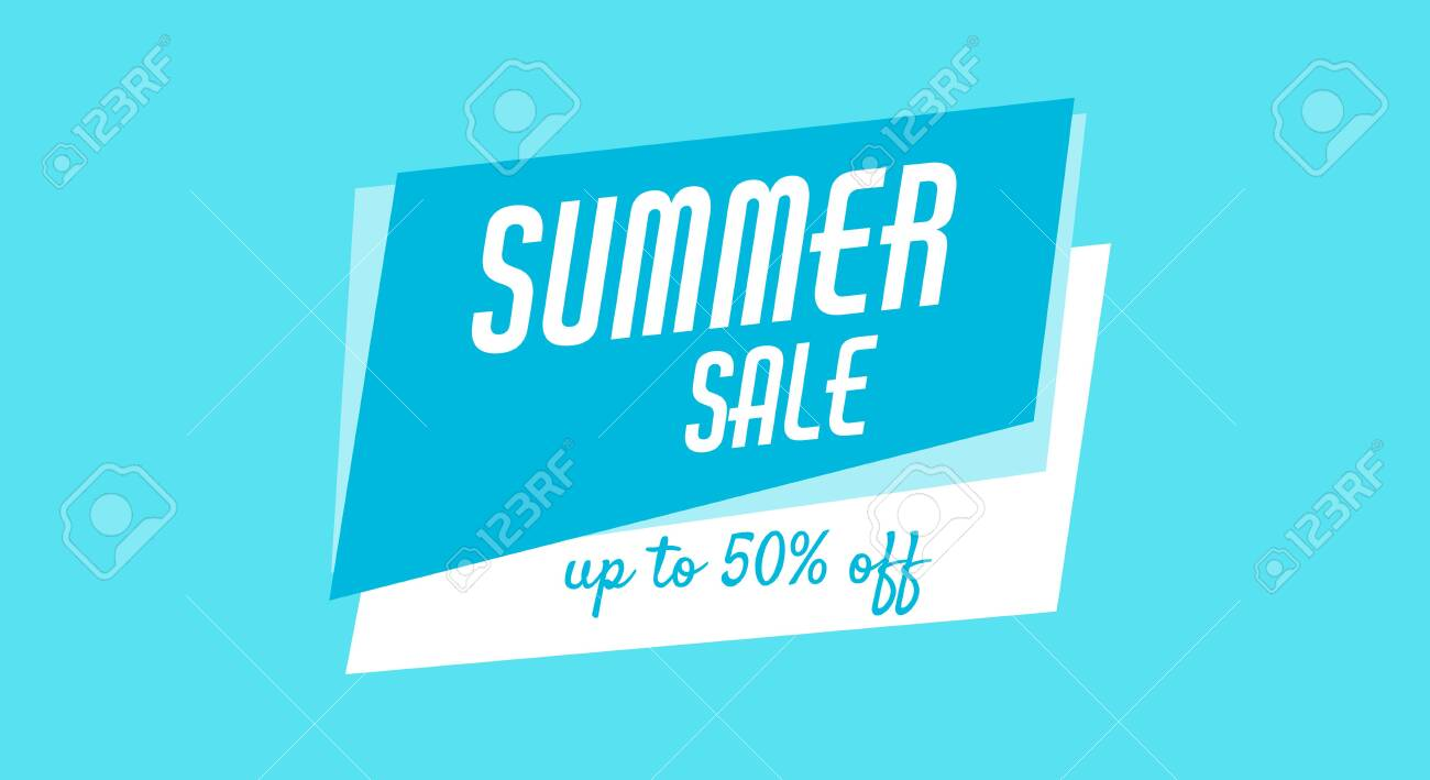 Blue banner, poster for web, site. Summer sale, up to 50 off. Cheap products. - 149789649