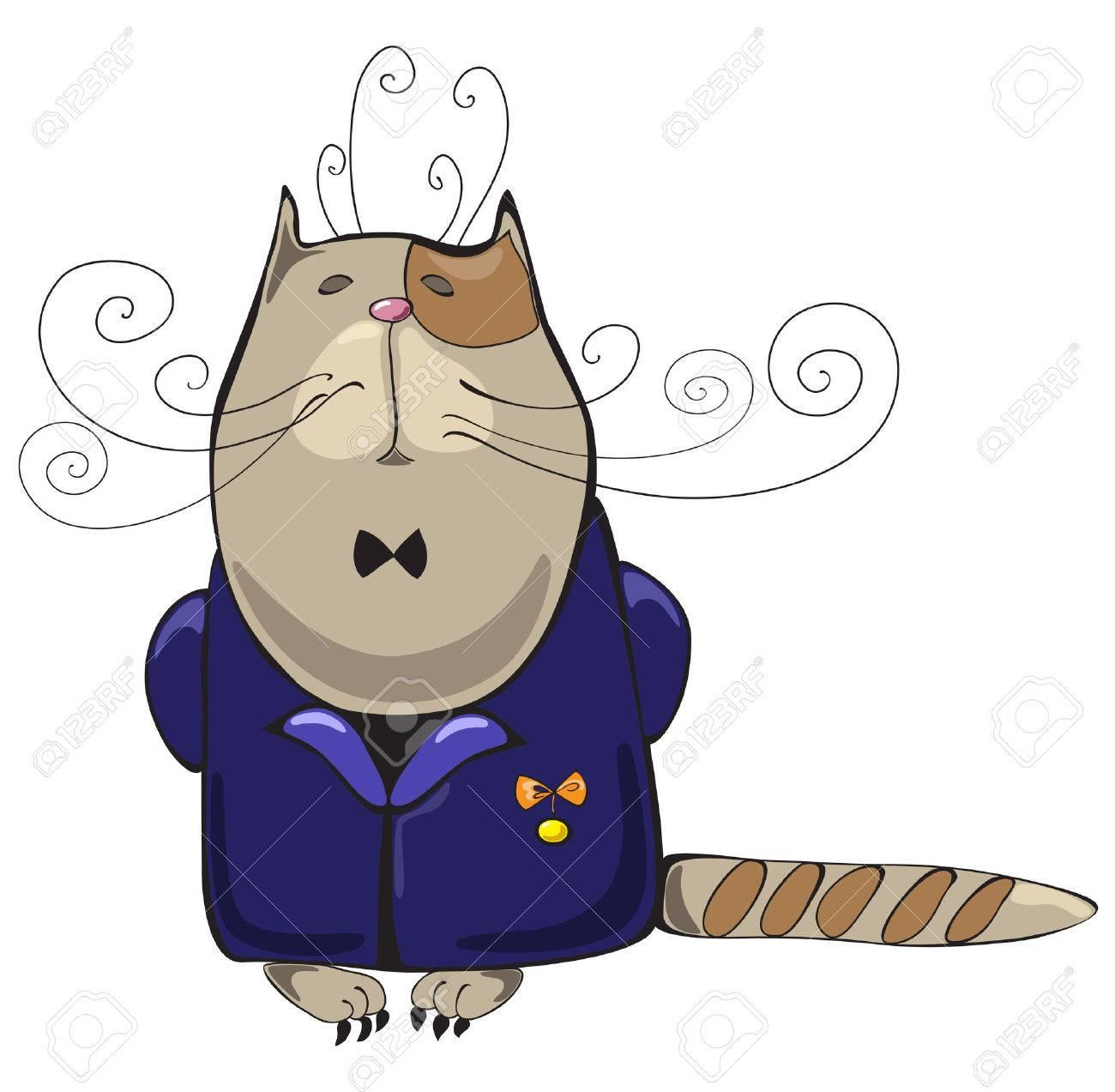 Fier chat hautain en veste bleue avec la médaille d'honneur