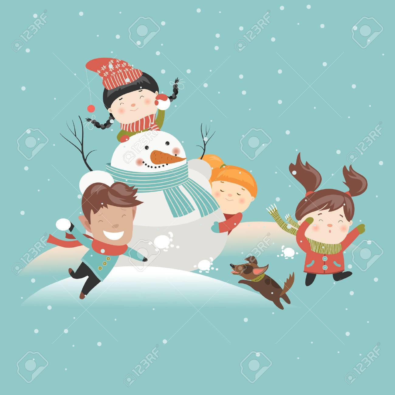 Funny kids playing snowball fight. Vector illustration - 45569189