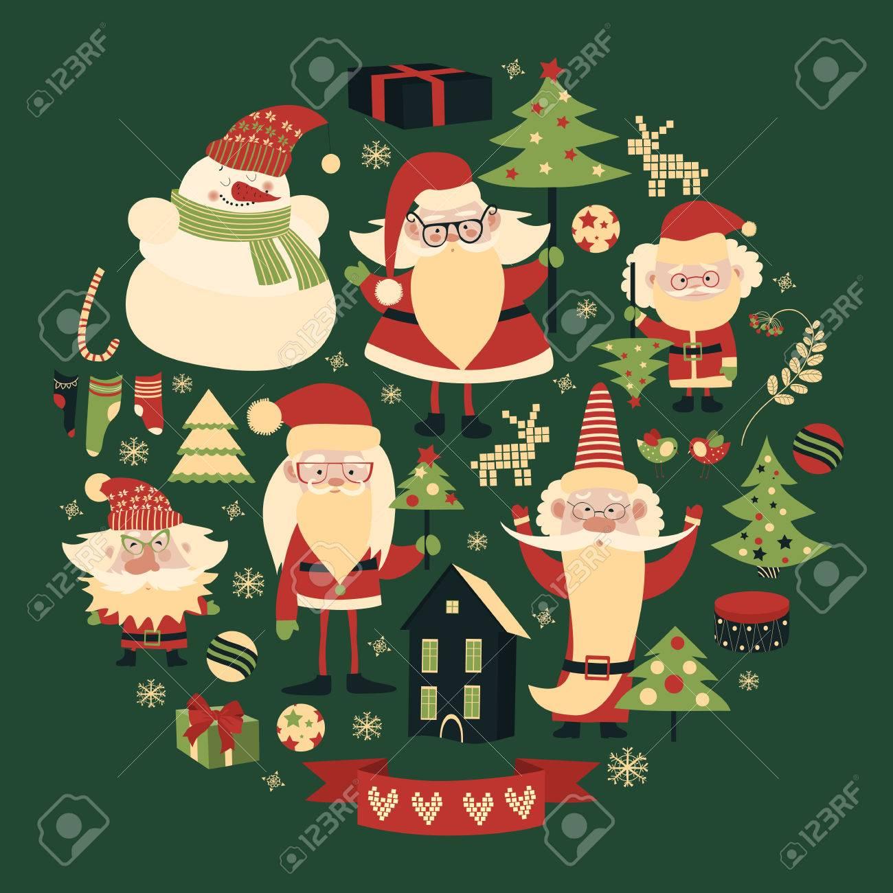 Vector collection of christmas items. Santa Claus, Christmas tree,snowman - 48417955