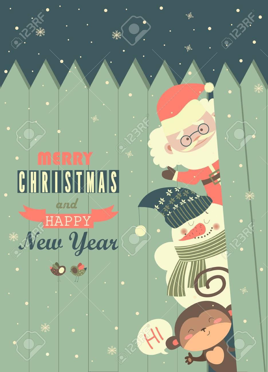 Souhaiter Joyeux Noel.Pere Noel Singe Bonhomme De Neige Pour Vous Souhaiter Joyeux Noel Vecteur Carte De Voeux