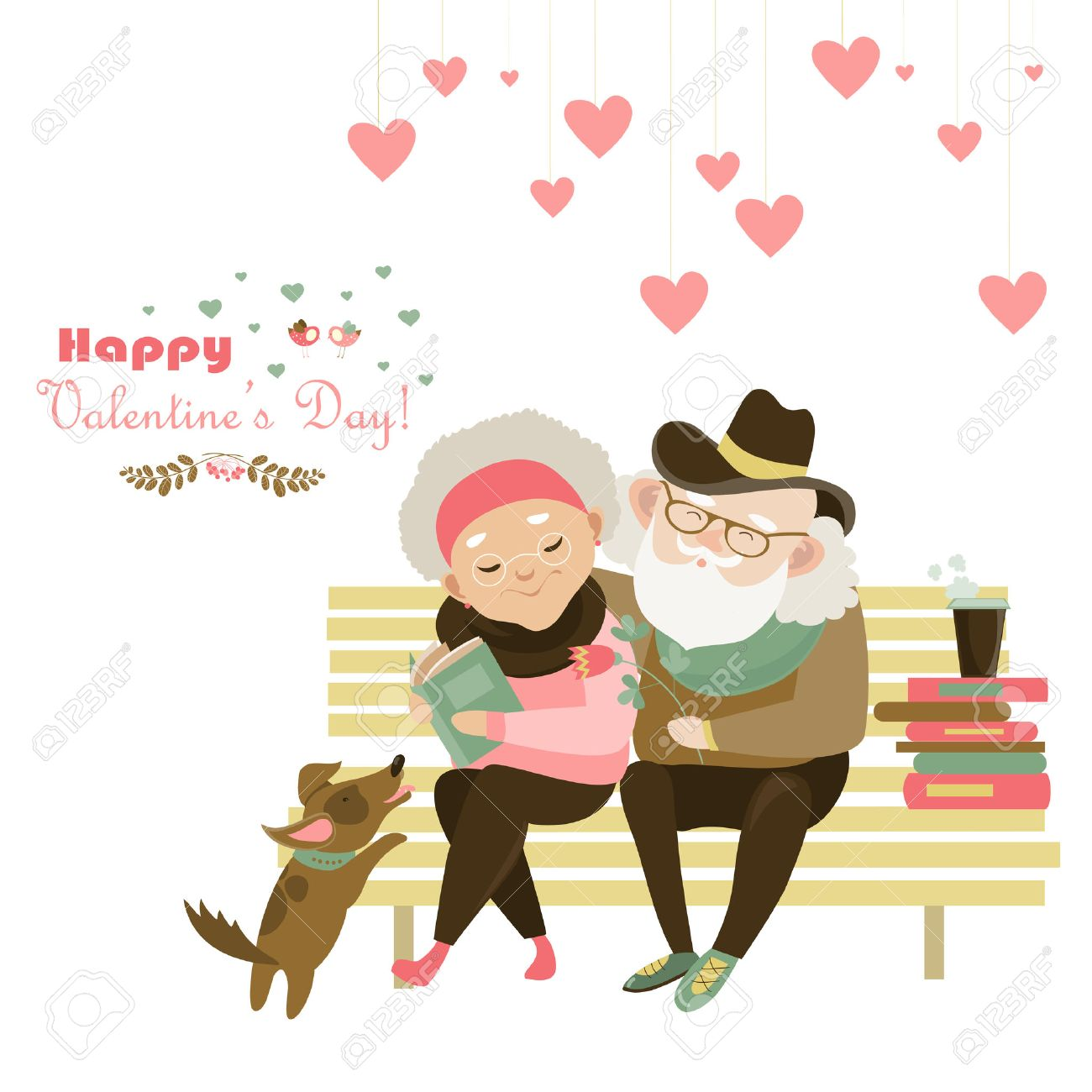 Old couple in love sitting on bench. - 50153845