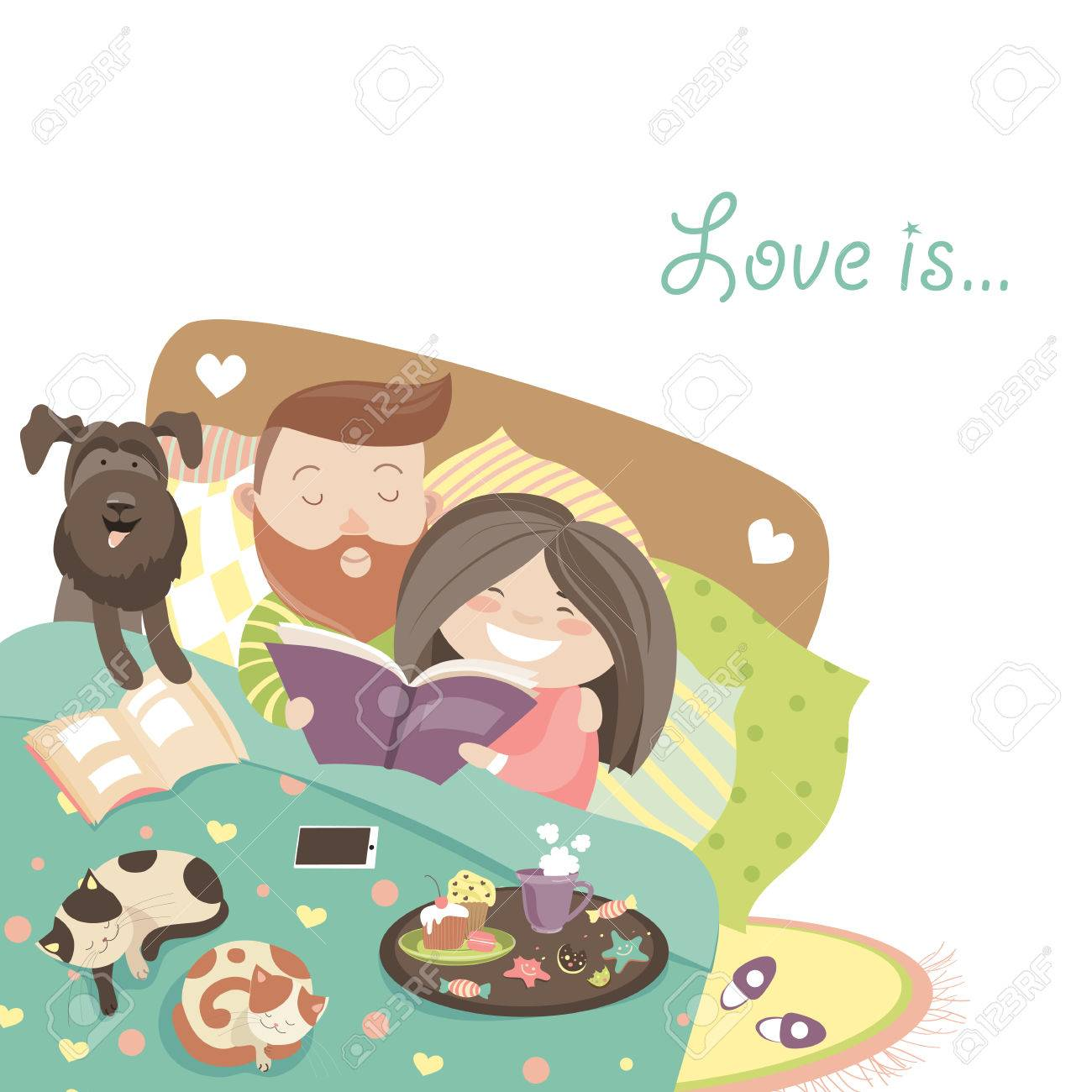 Happy couple in bed with cats and dog. Vector illustration - 51290856