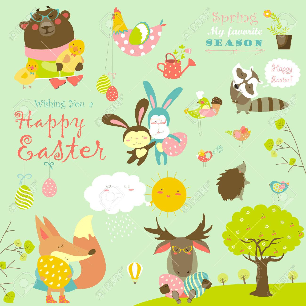 Animals celebrating Easter. set of cartoon characters - 52242844