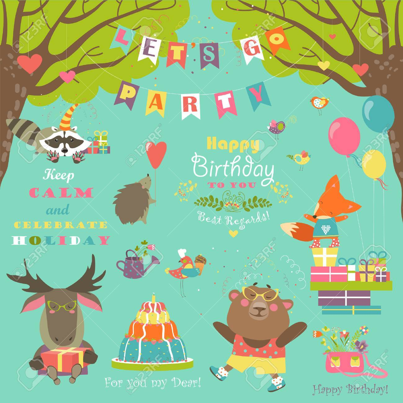 Set of birthday party elements with cute animals - 54302430