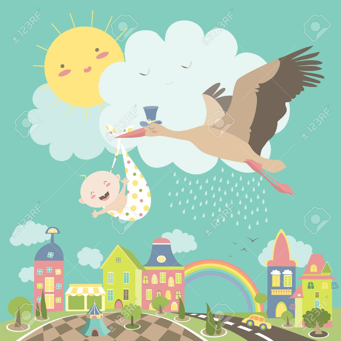 Stork is flying in the sky with baby above the city. illustration - 55146212