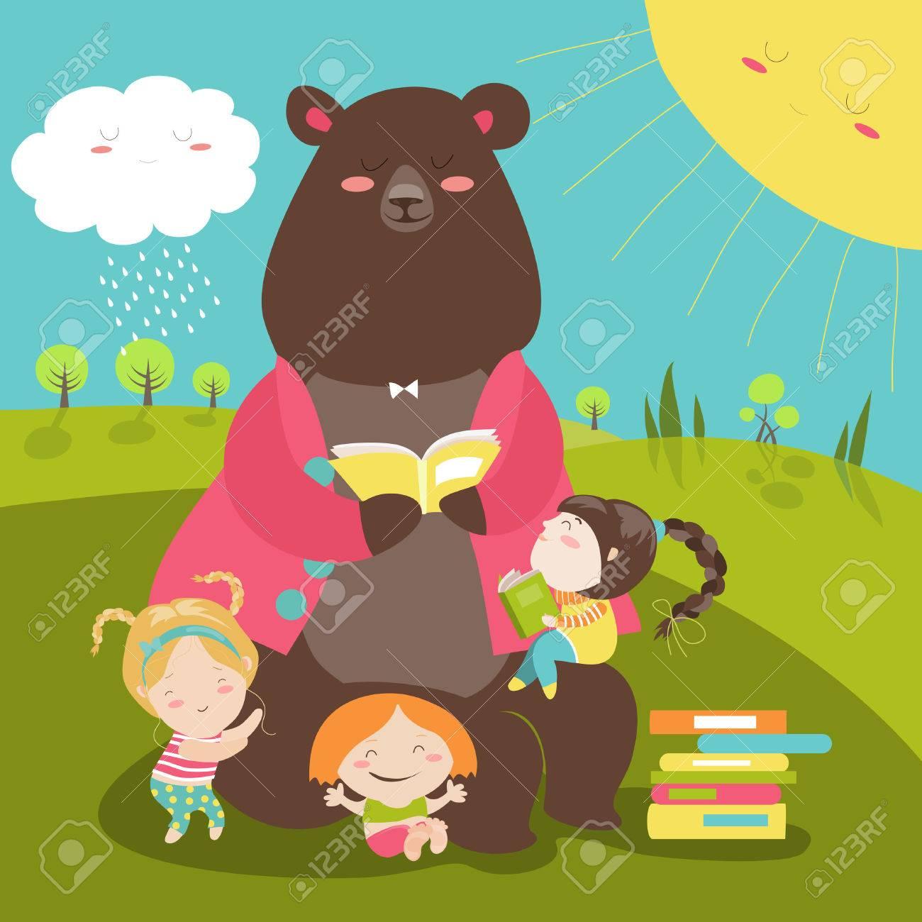Cute bear reading book for girls. illustration - 56645360