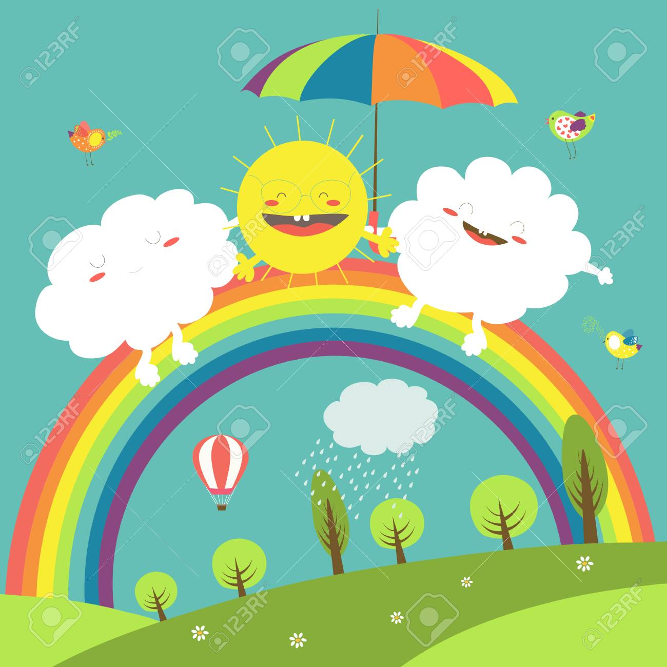 Vector illustration of rainbow, cloud and happy sun in the sky - 60324225