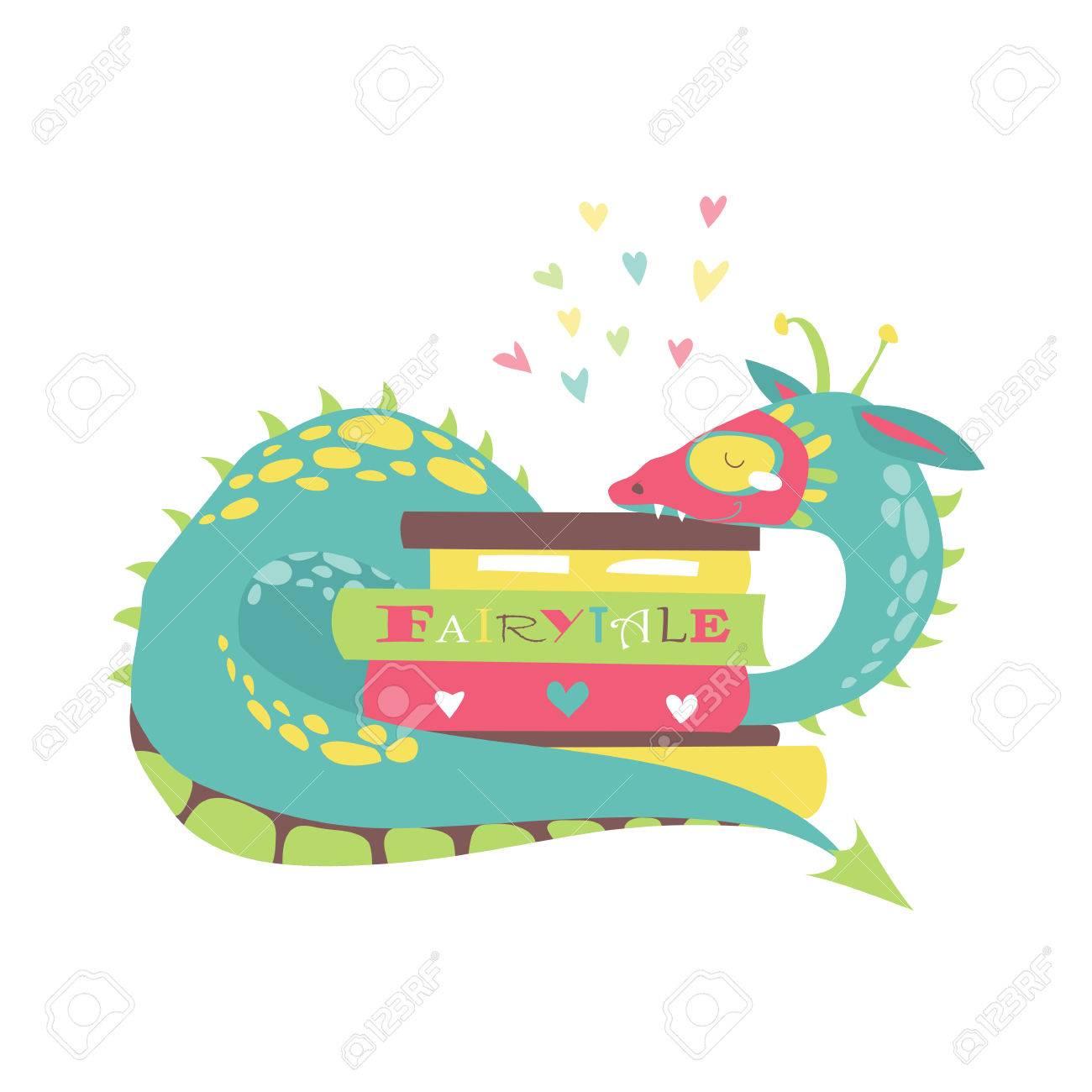 Cute Drachen Mit Stapel Bücher. Vektor-Illustration Lizenzfrei ...