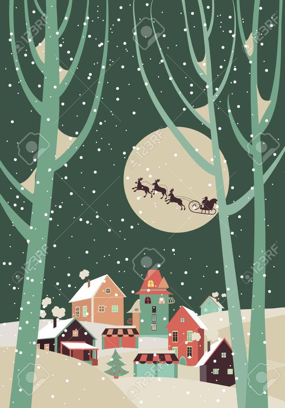 Immagini Di Babbo Natale Con Le Renne.Slitta Di Babbo Natale Con Le Renne Volare Sopra La Citta E Lancia Doni Sullo Sfondo Della Luna Vector Greeting Card