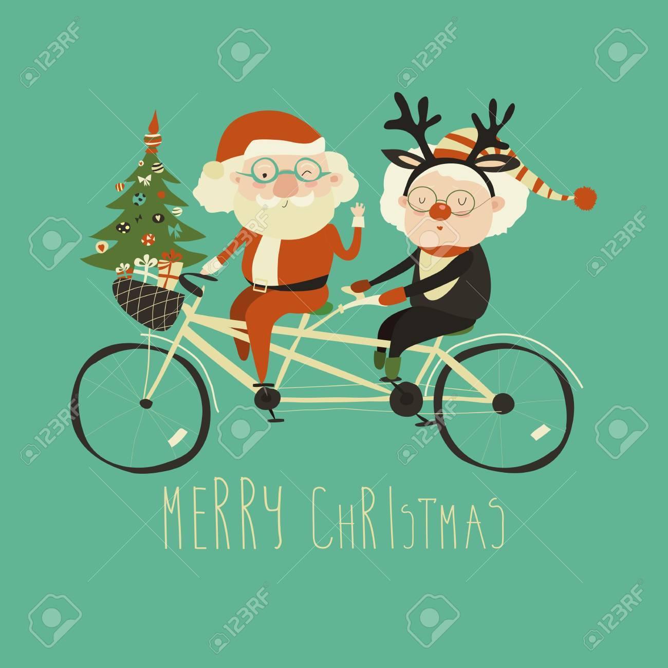 Cool Grandma With Grandpa As Santa Claus And Reindeer Riding