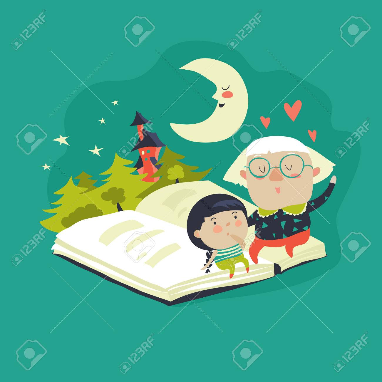 Grandmother tells a fairytales to her granddaughter. Vector illustration - 69112870