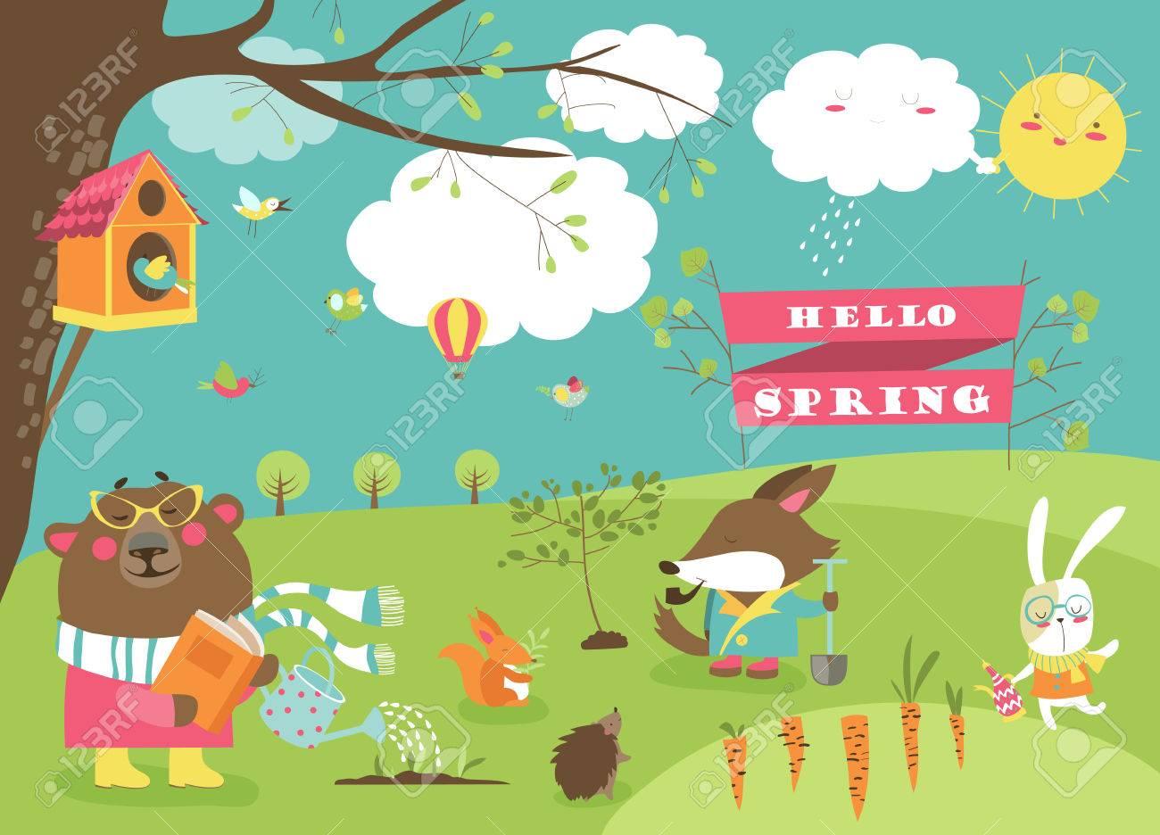 Animales Del Dibujo Animado Lindo En Bosque De La Primavera