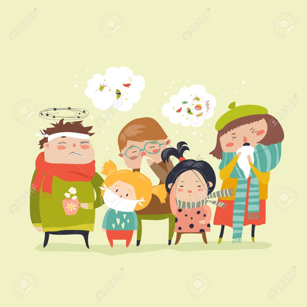 Sick children with fever, illness Vector illustration. - 92246980