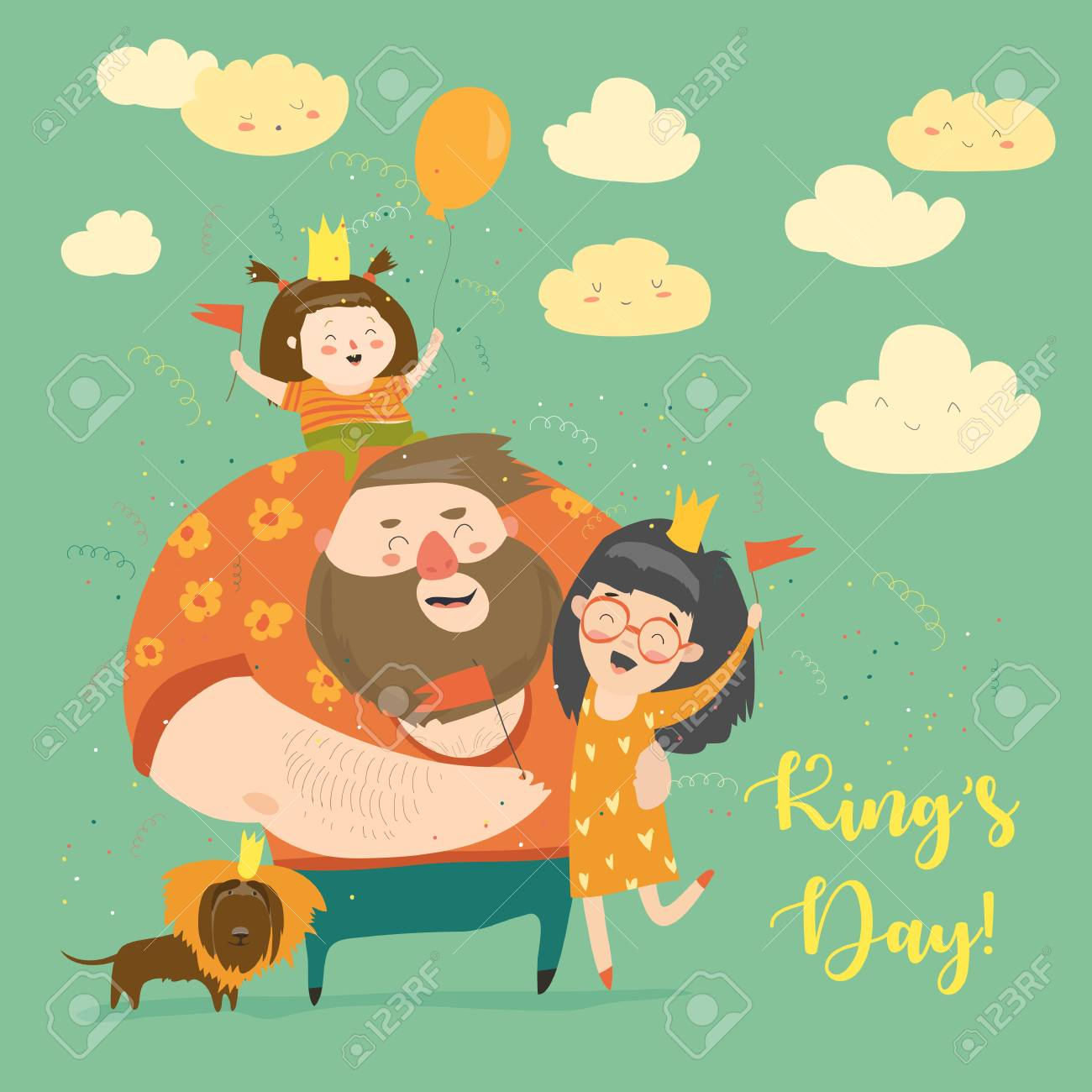 Family celebrating Kings Day - 92407658