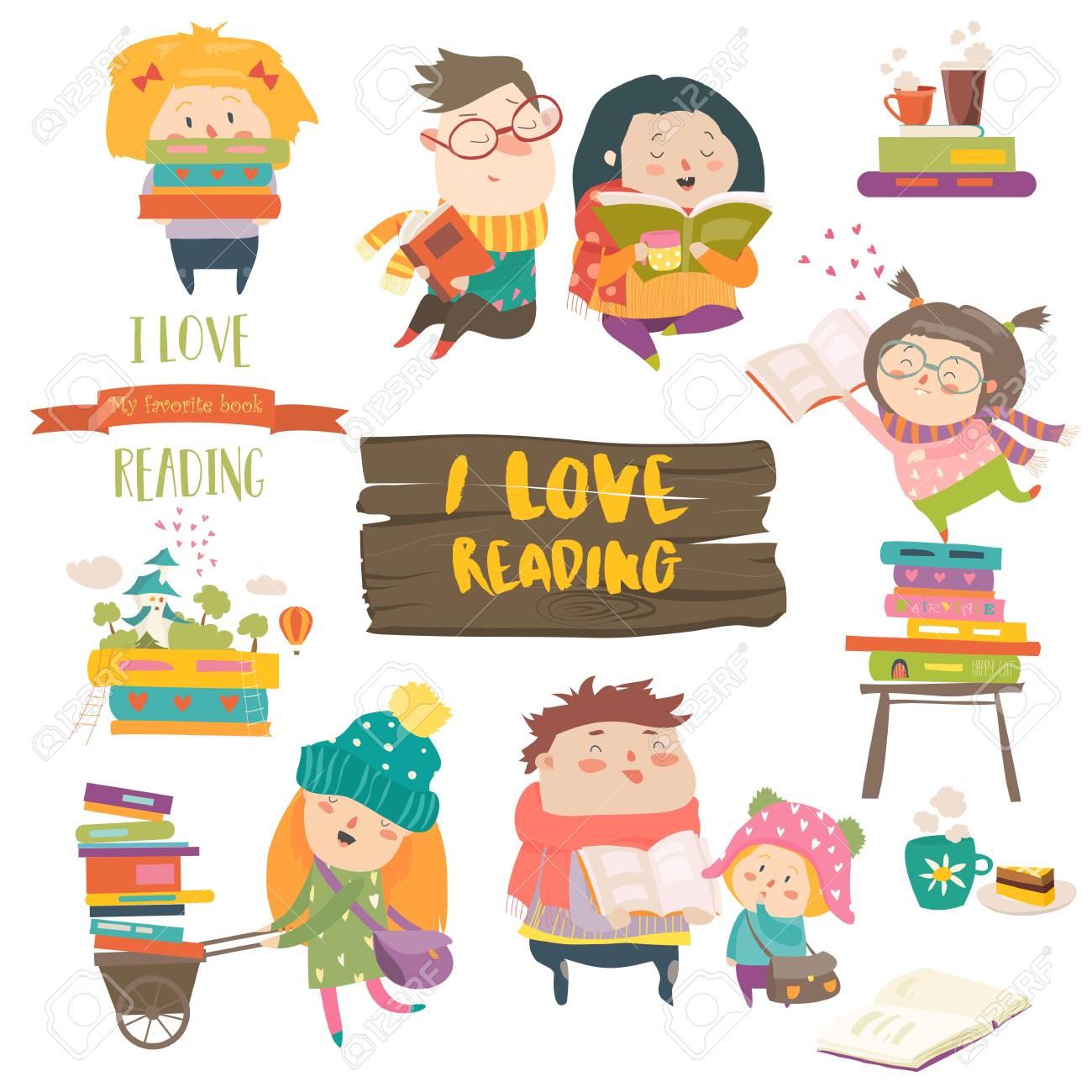 Set of cartoon children reading books. - 93260726