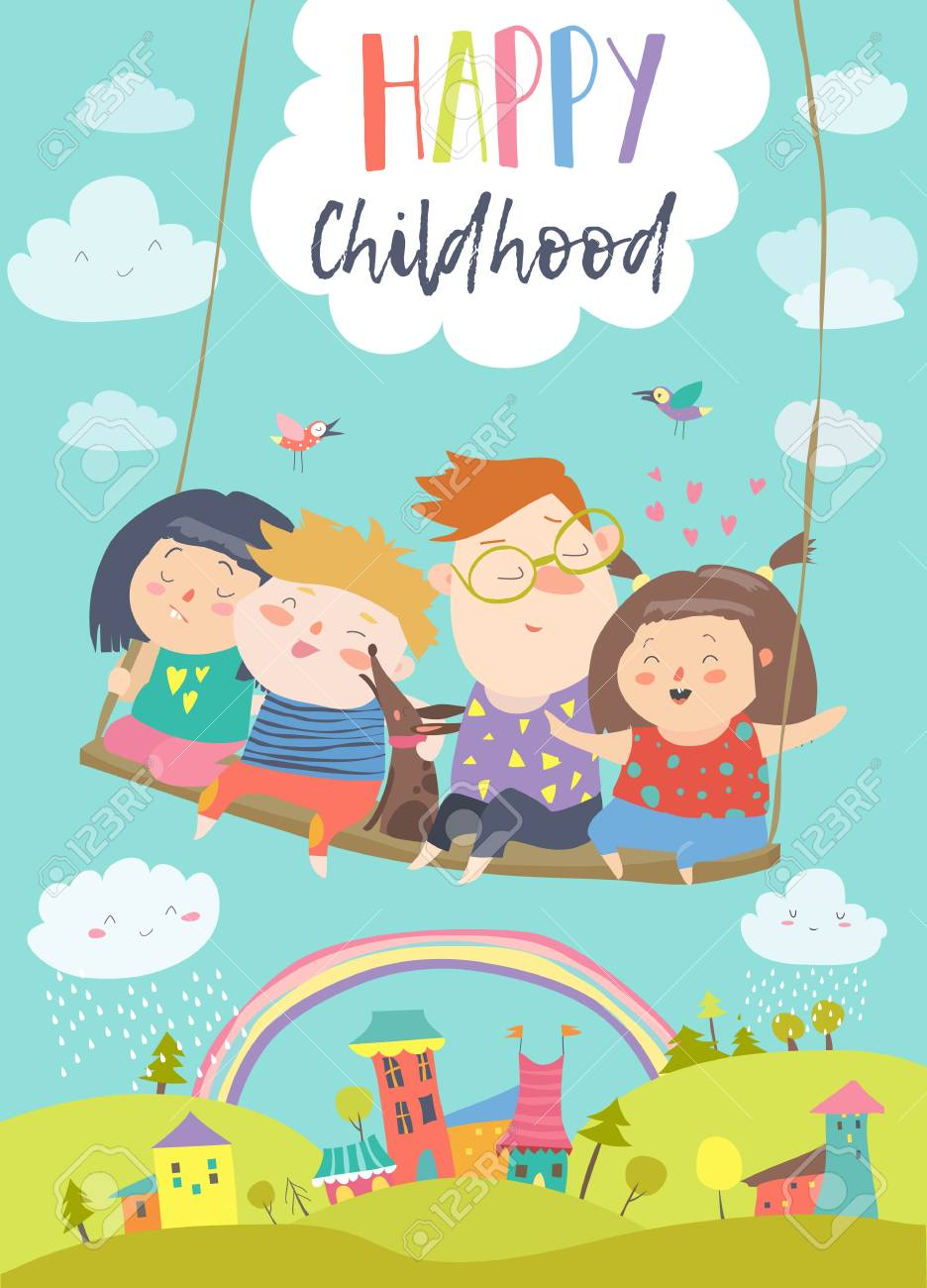 Happy kids flying on a swing card illustration - 95033383