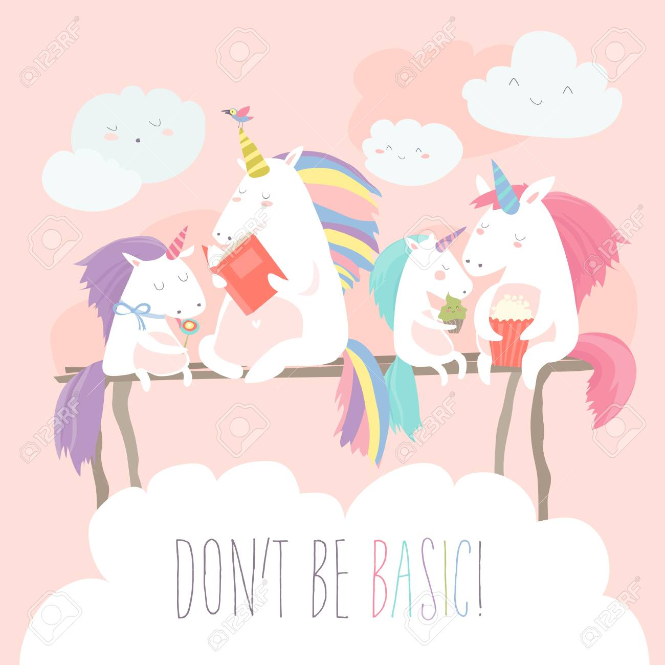 Unicorn reading book with friends - 96428518