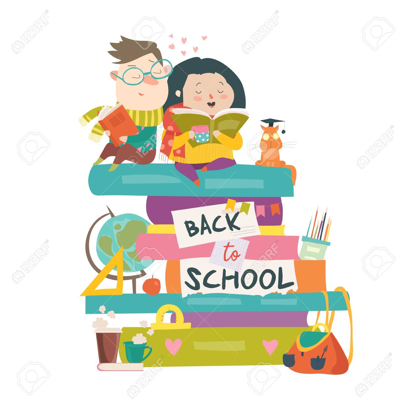Boy and girl sitting on piles of books. Back to school - 104187181