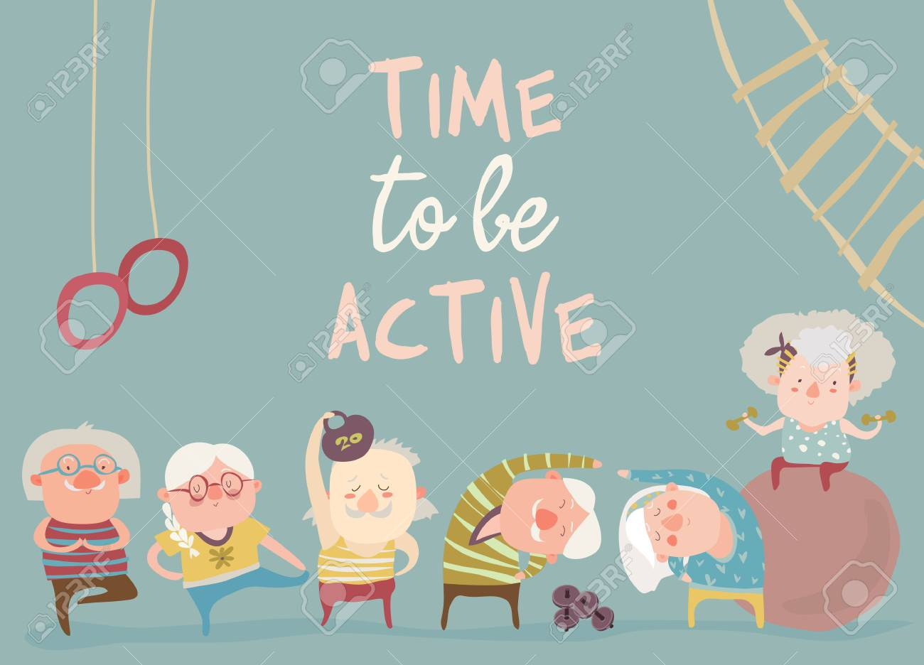 Cartoon elderly people doing exercises. Vector illustration - 115030502