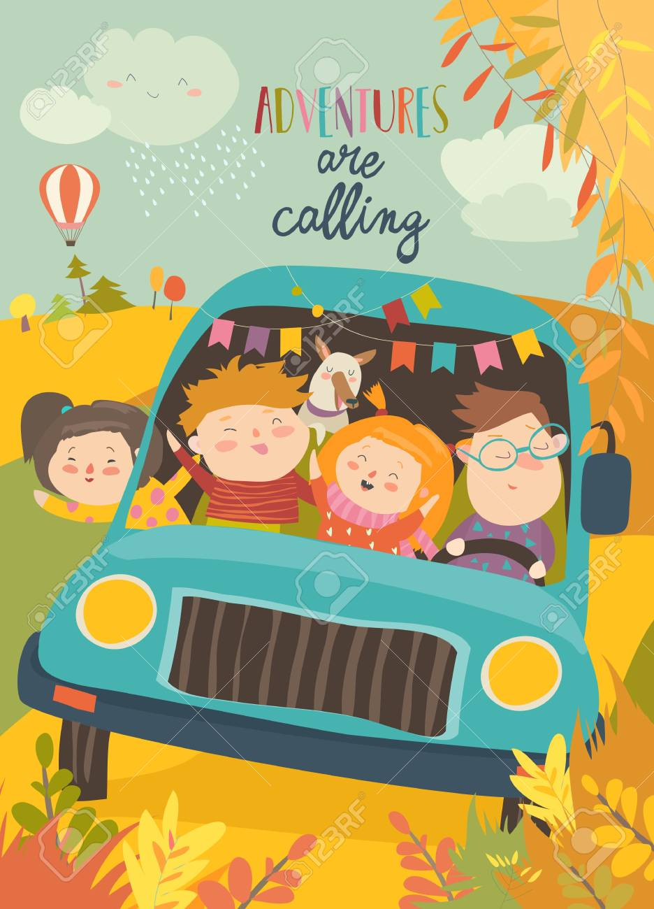 Cute children traveling by bus. Vector illustration - 112223871