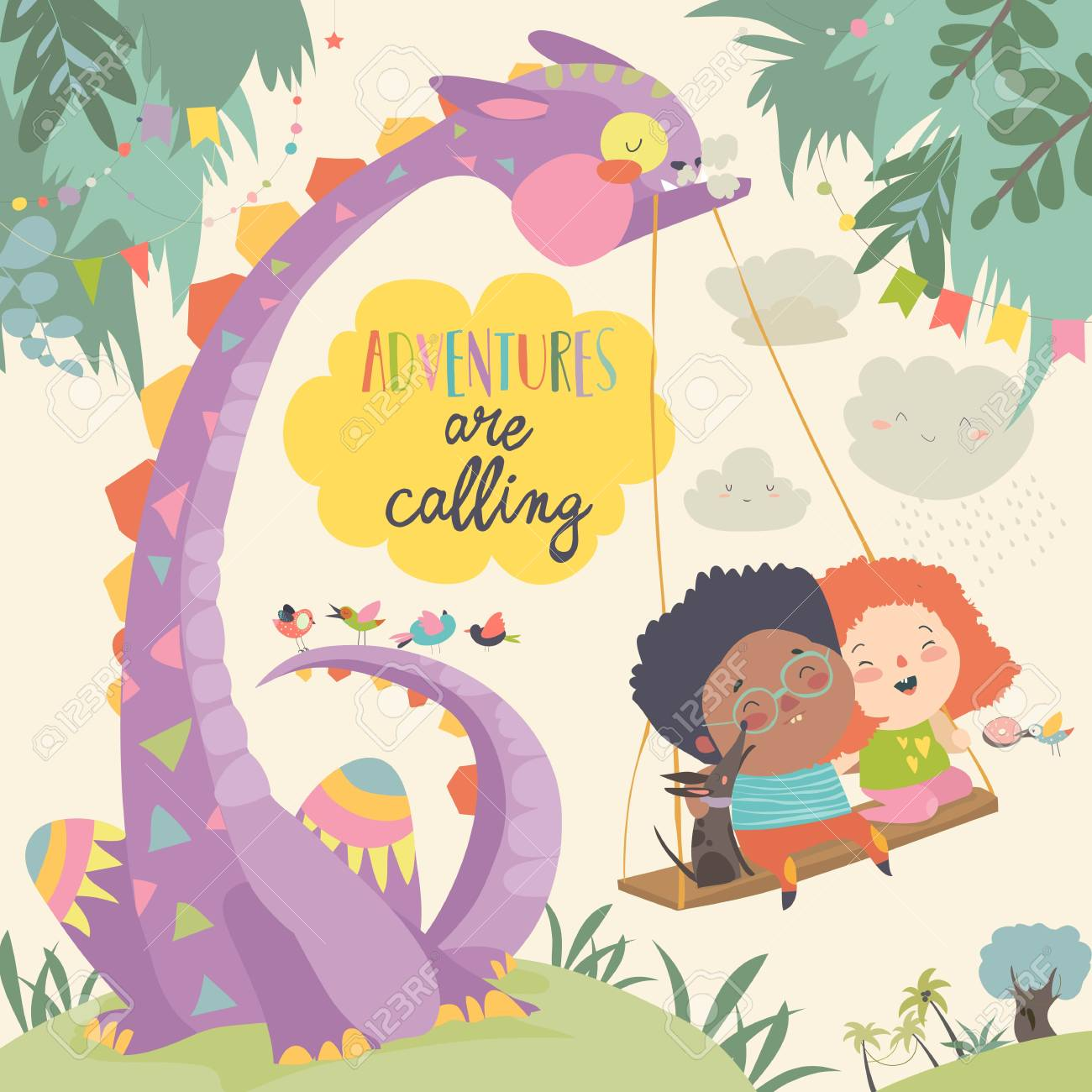 Happy children with funny monster. Adventures are calling. Vector illustration - 113961767