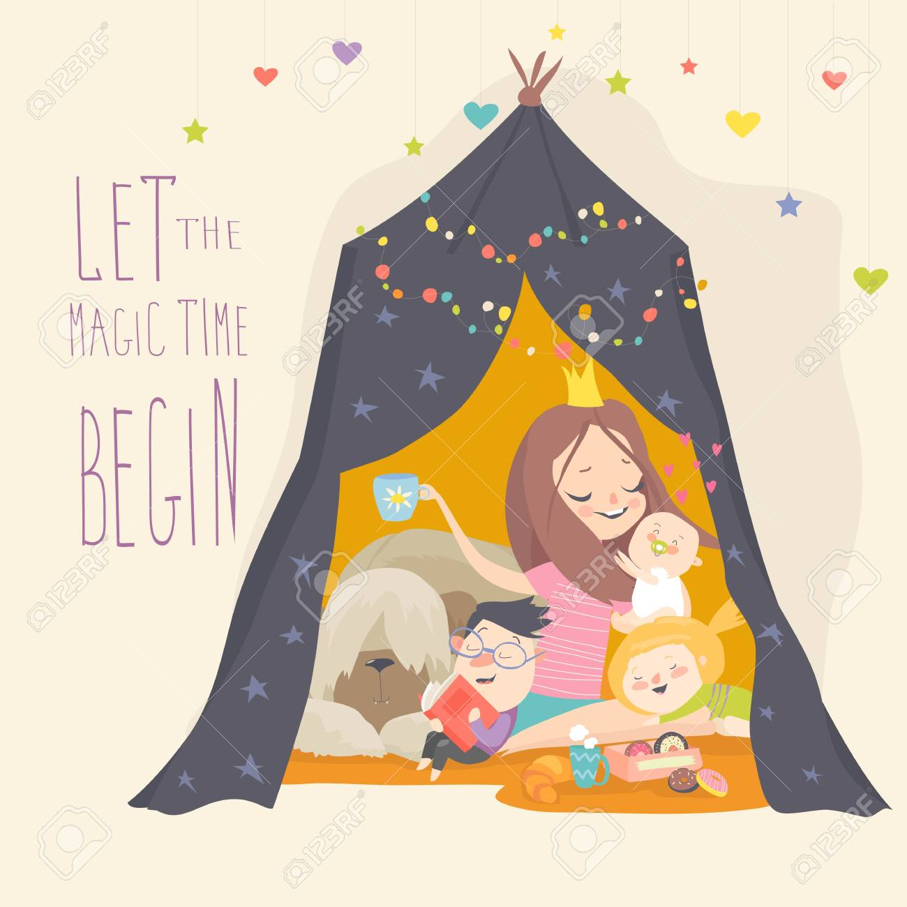 Mum and her son playing in a tepee tent. Kids having fun in a hut. Vector Illustration - 122793838