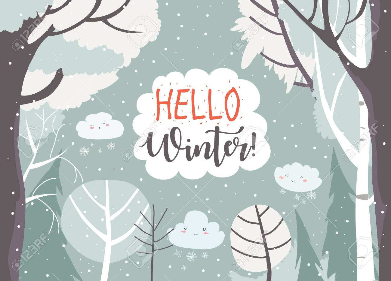 Cartoon frame with winter forest. Vector illustration - 123987188