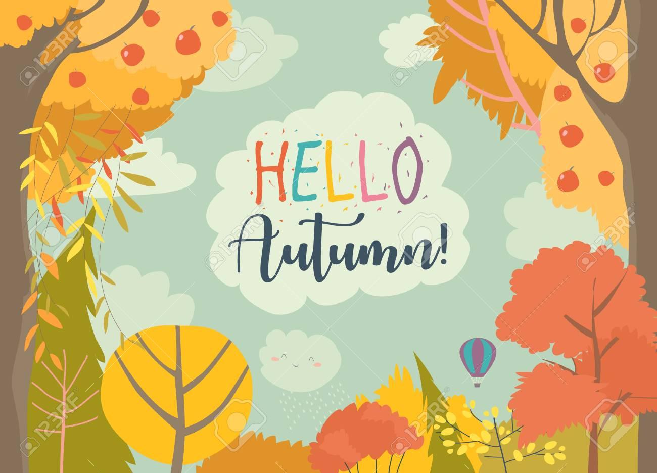 Cartoon frame with autumn forest. Hello autumn - 124098491