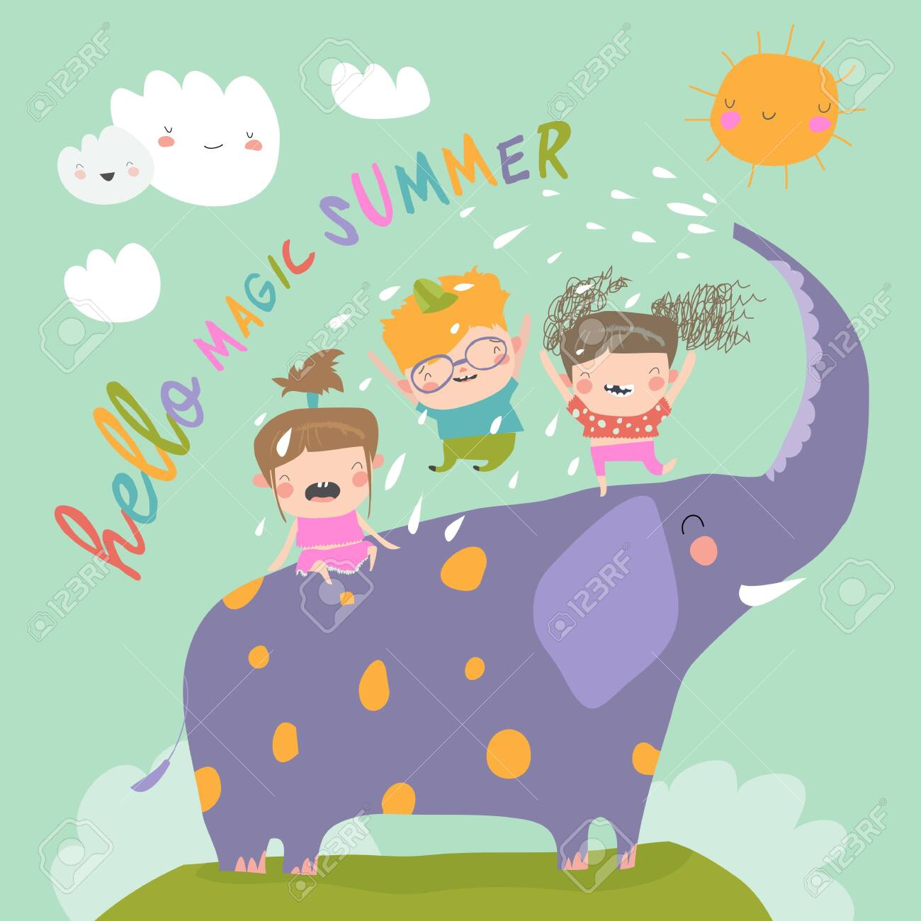 Happy kids with big elephant meet summer - 148427158