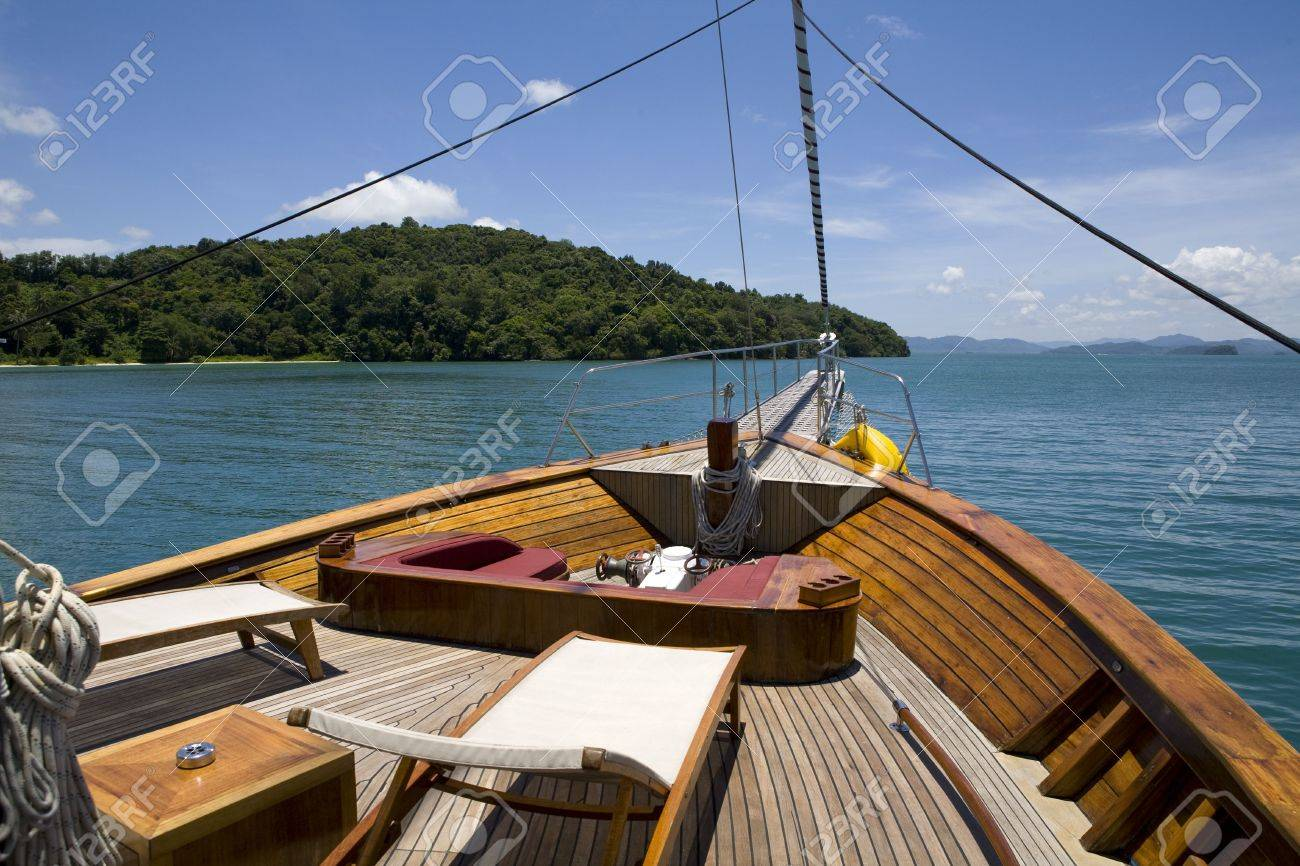 Front Deck Of Yacht With Chairs Sailing In The Ocean Stock Photo   3594085