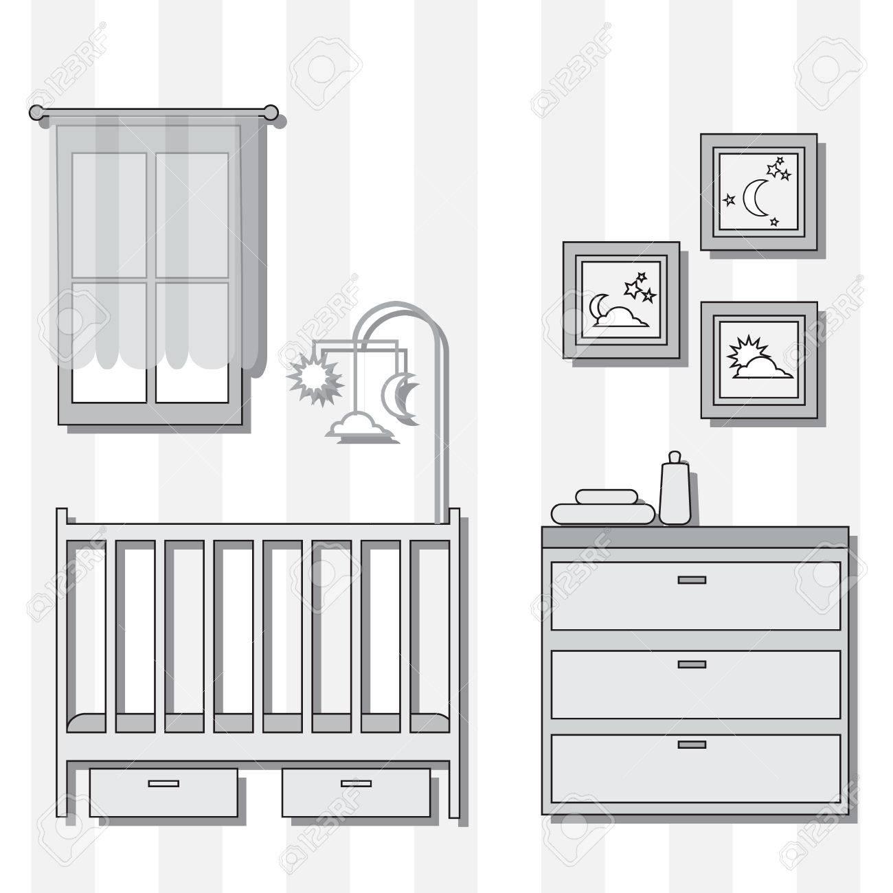 Vivero Con Muebles. Sitio Del Bebé Interior. Ilustración Del Vector ...