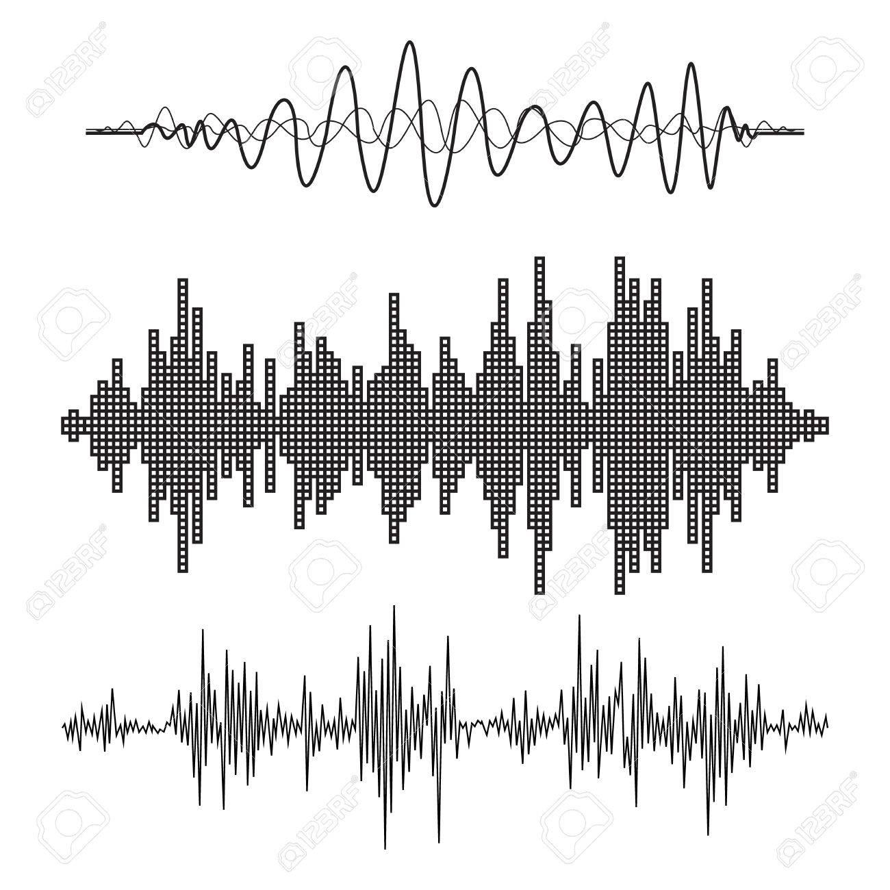 Vector music sound waves set. Audio sound equalizer technology, pulse musical. Vector illustration - 46270355