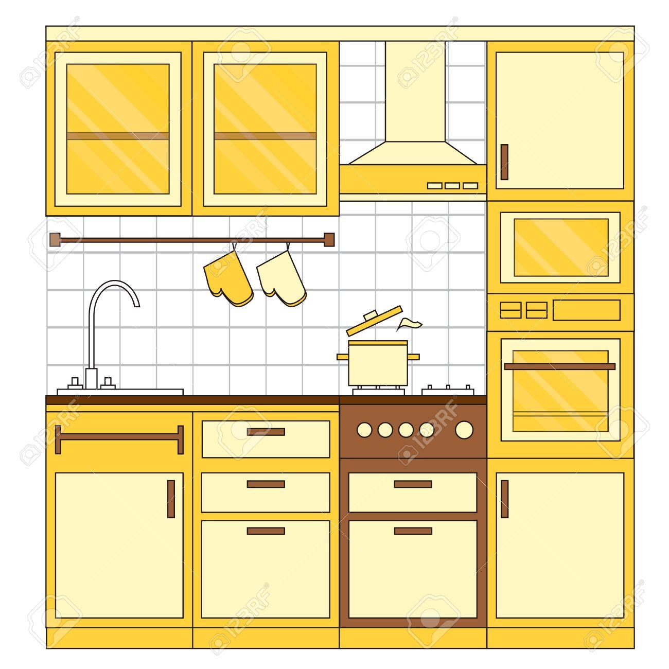 Innenarchitektur Der Küche. Wohnmöbel. Set Elemente: Herd, Backofen ...