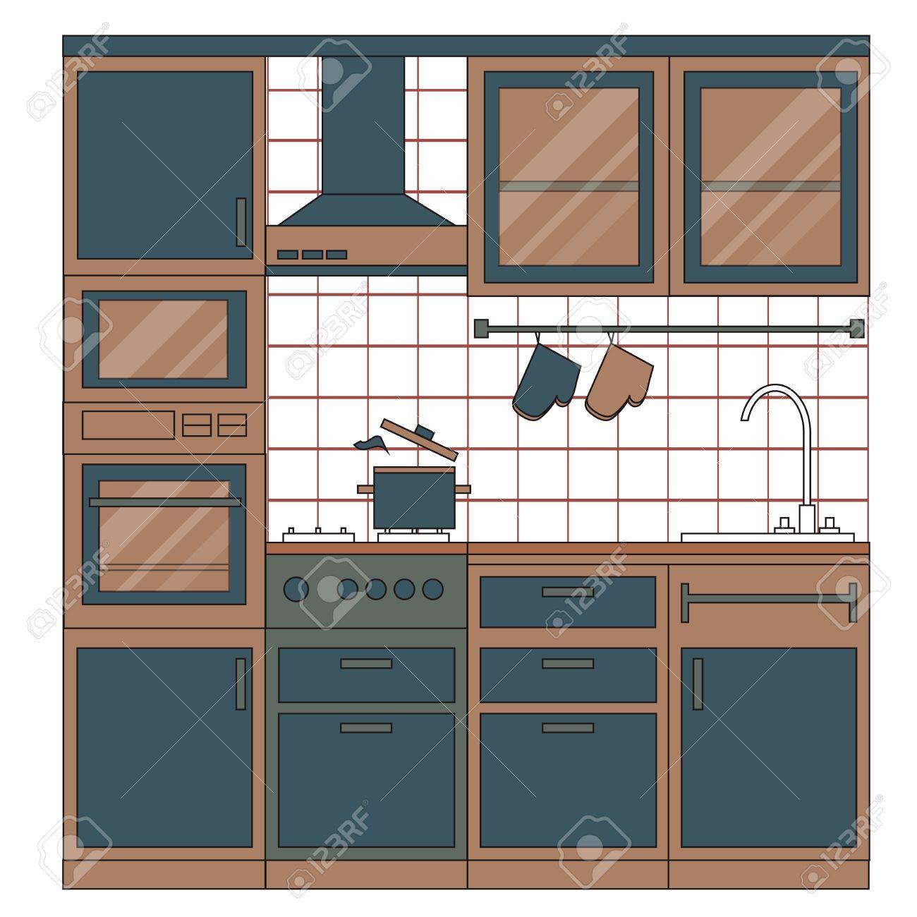 Cocina entre el diseño. Muebles del hogar. Conjunto de elementos: estufa,  horno, microondas, armarios, platos, grifo. ilustración vectorial