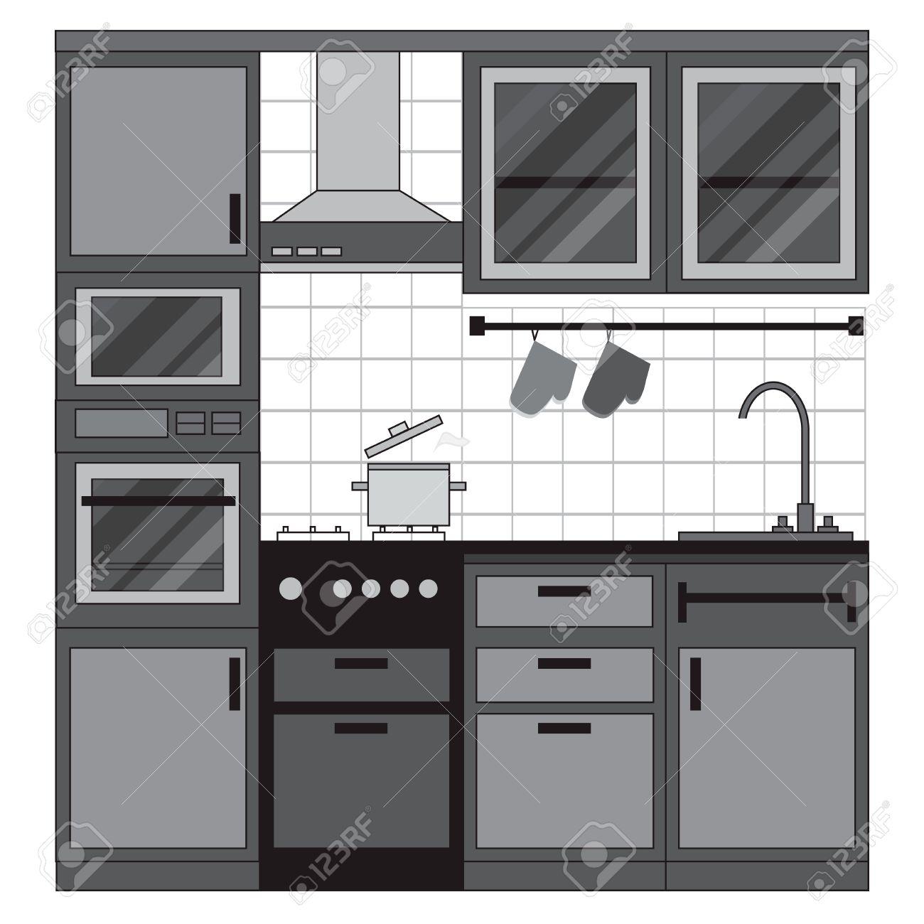 cocina de diseo de interiores muebles para el hogar conjunto de elementos estufa