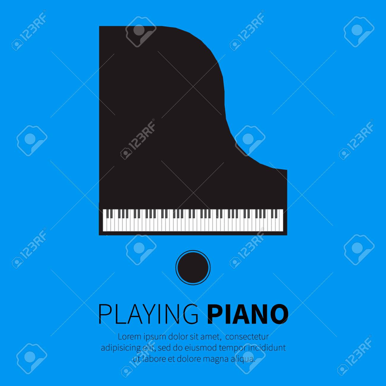 Grand piano and chair. Music instrument. Vector illustration - 46352006