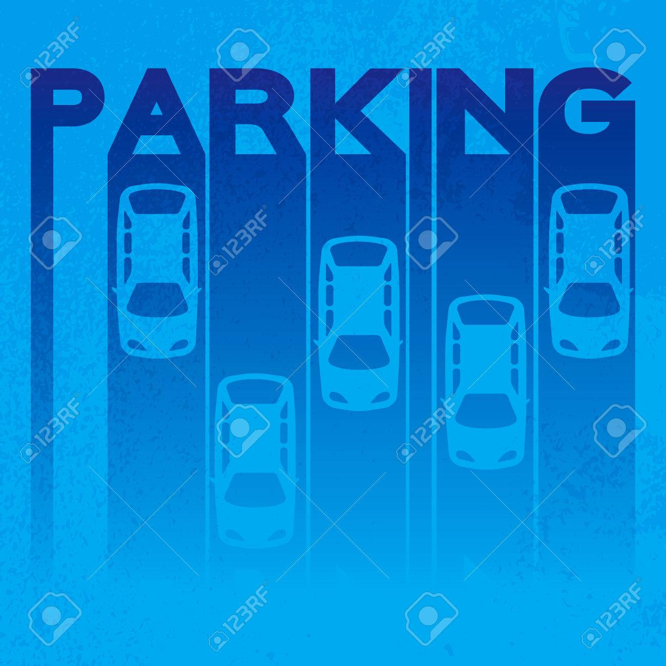 Colorful design style of signature – parking- on textured background. Top View Parking lot design Simple bright symbol - car. Many cars parked Template for your print or design on black background. Vector flat illustration - 46352176