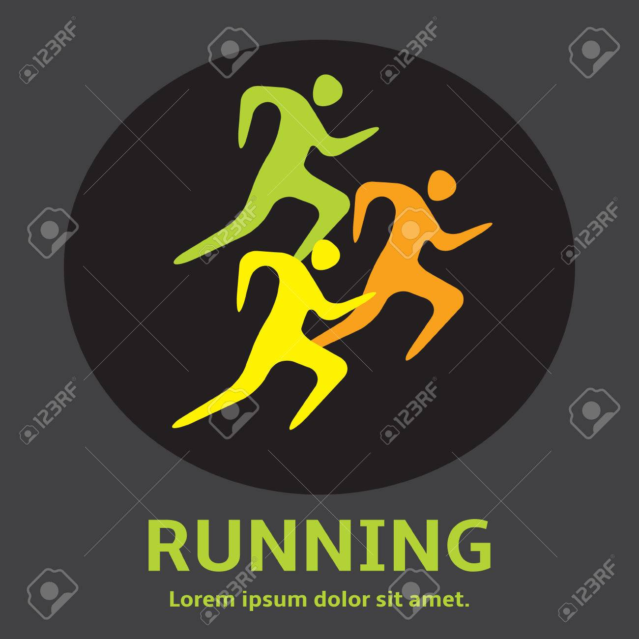 Running Man People Silhouette Icon Lets Run Simple Royalty