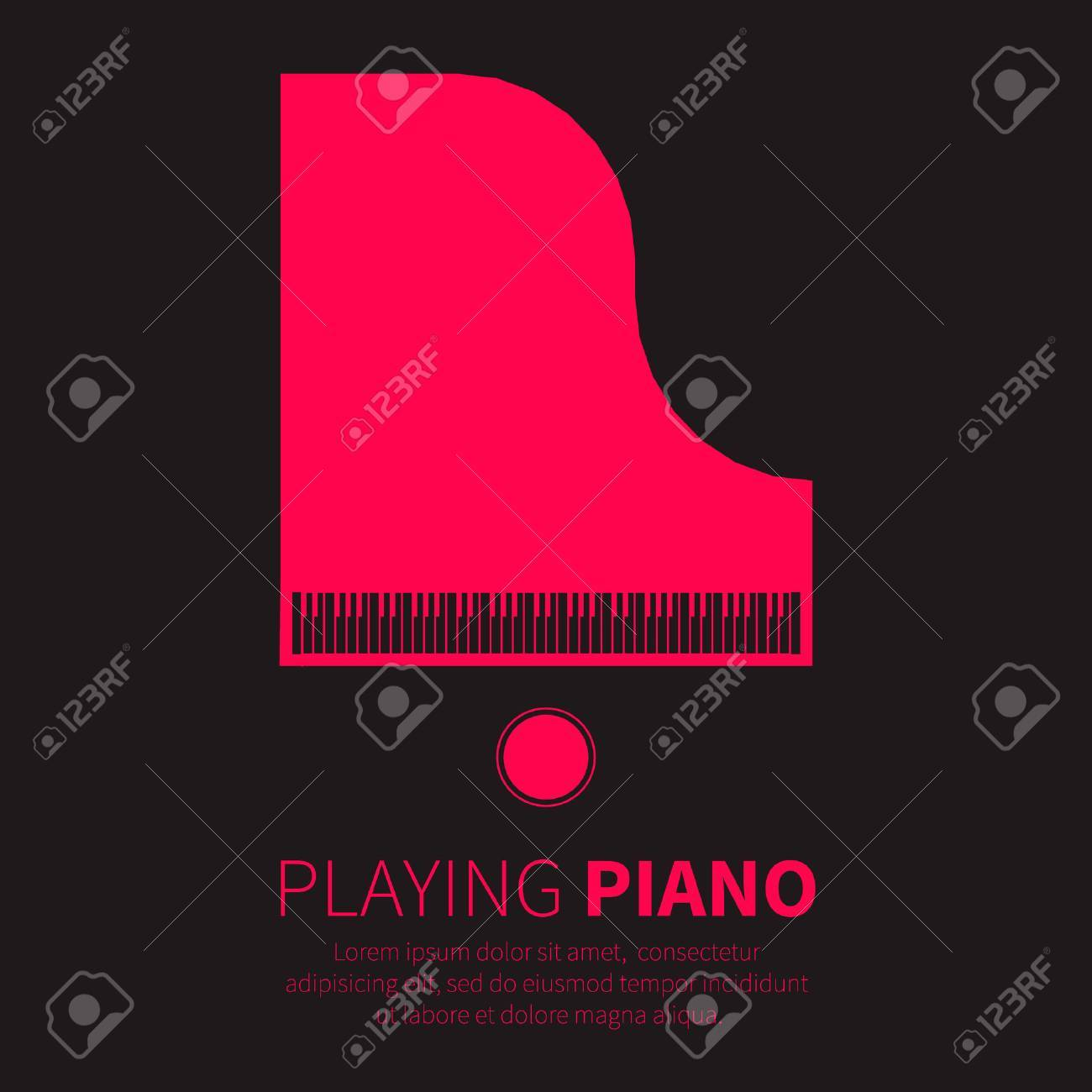 Grand piano and chair. Music instrument. Vector illustration - 46352578