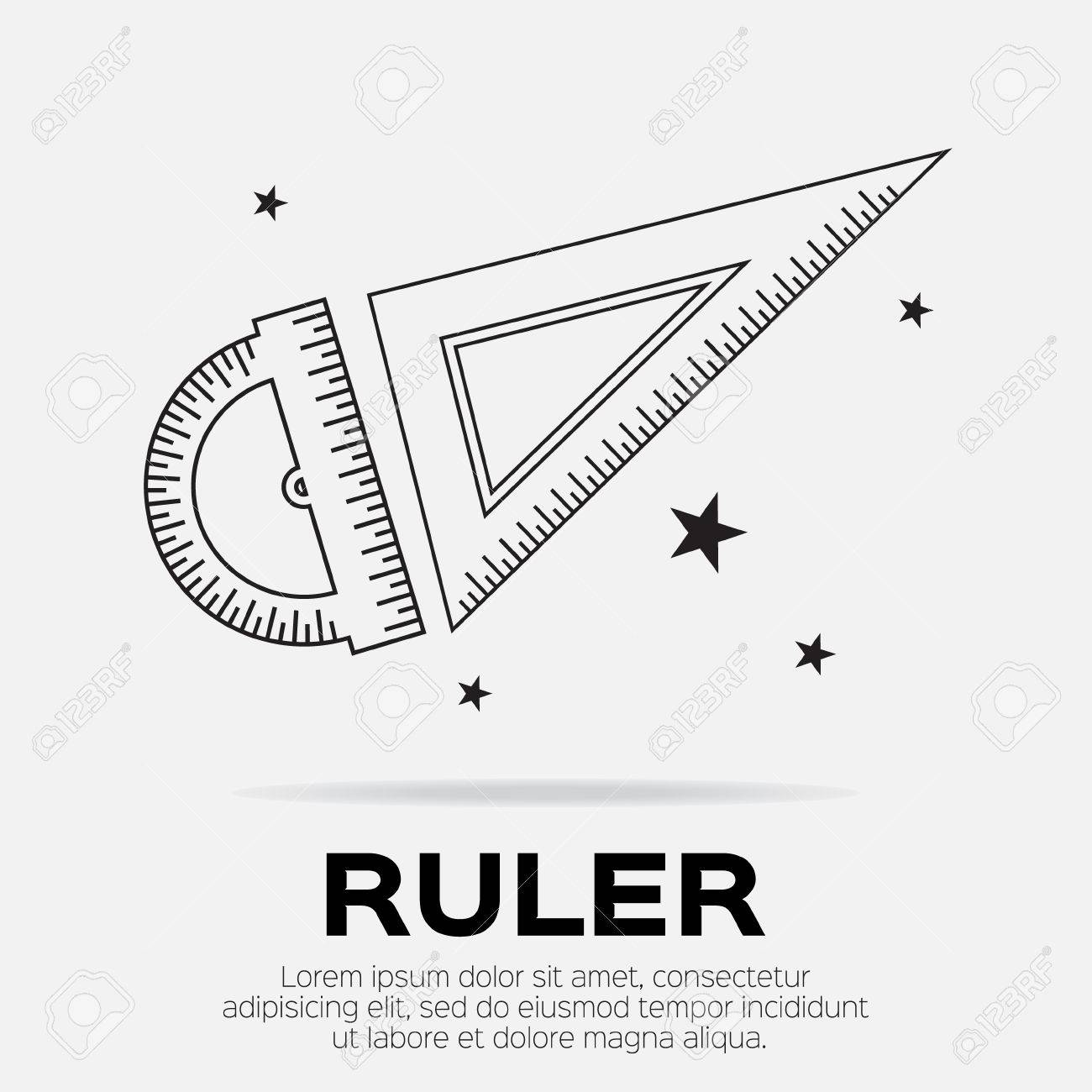 Ruler icon  Ruler symbol  Protractor  Office Supply Objects