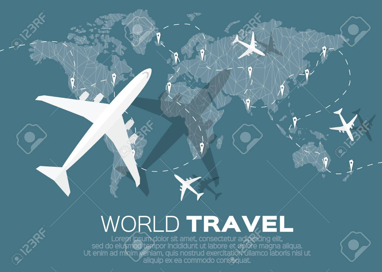 Travel World map background in polygonal style with top view airplane. Vector illustration design. - 46354182