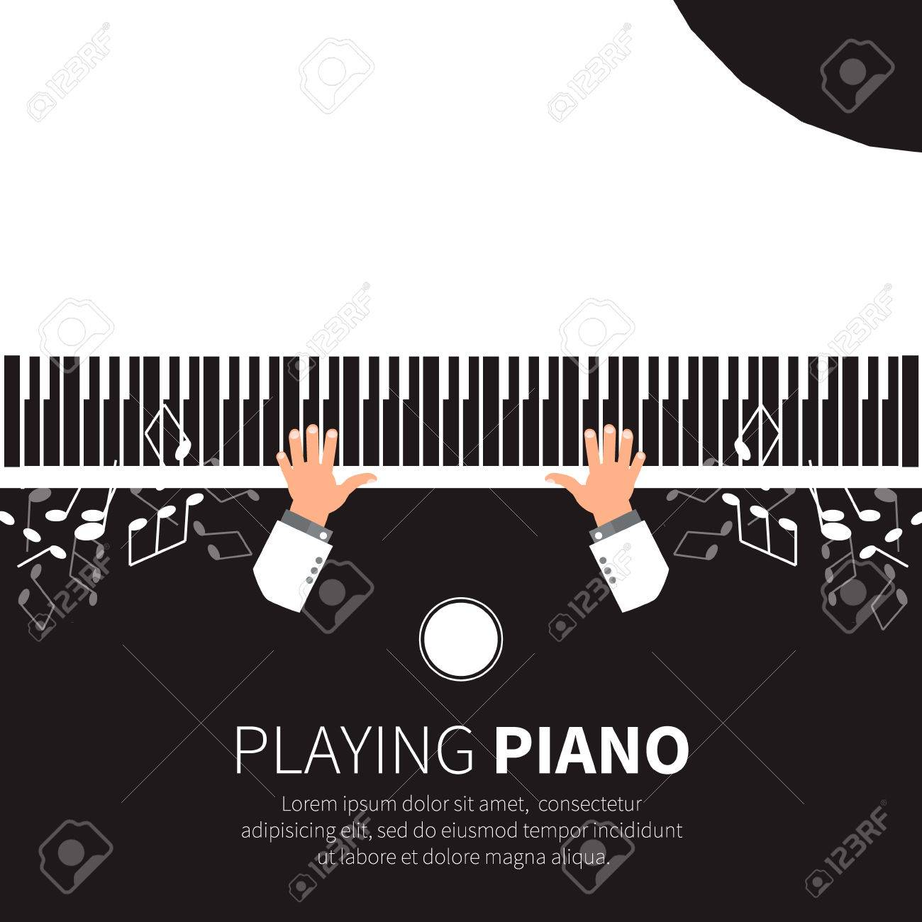 Man playing piano. Pianist. Grand piano and chair. Music instrument. Vector illustration - 46354200