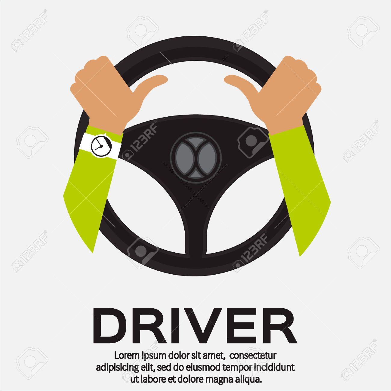 Driver design element with hands holding steering wheel. Vector illustration. - 46354430