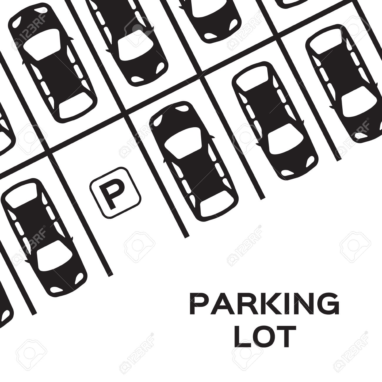 Top View Parking lot design. Many cars parked. Vector Illustration. - 46401724