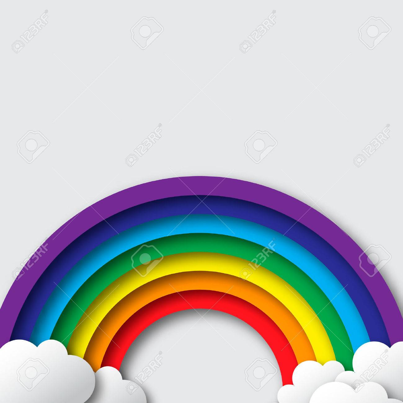 Stylized paper cutout clouds and rainbow. Vector applique. - 47540281