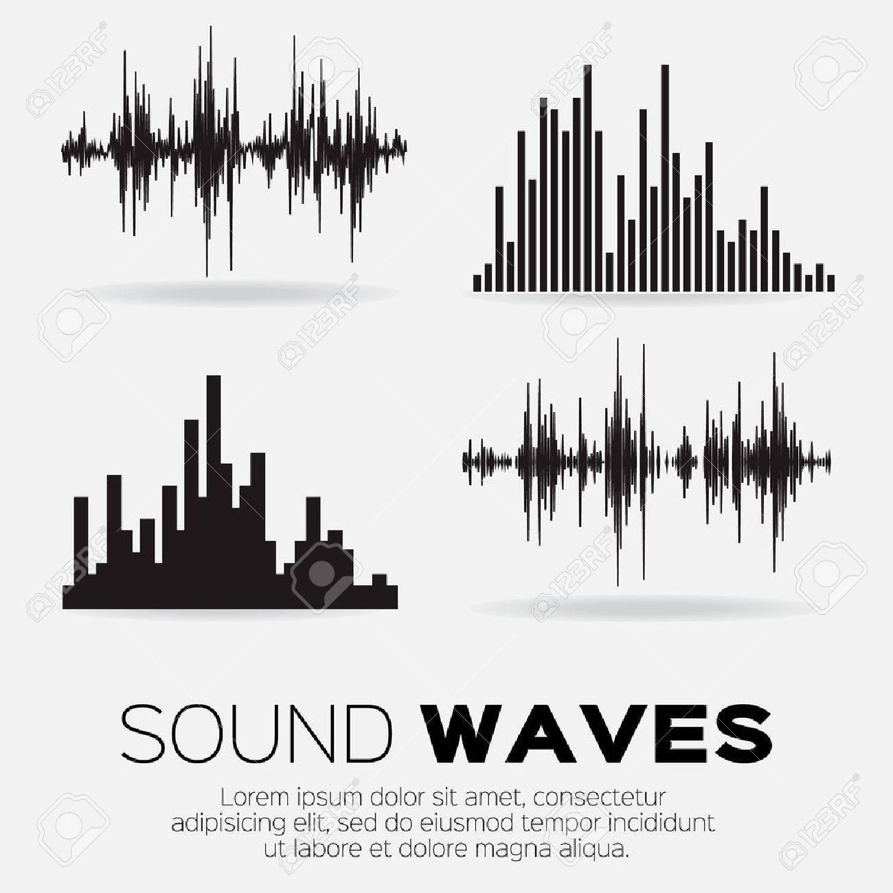 Set of 4 music sound waves. Audio sound equalizer technology, pulse musical. Vector illustration - 51443607